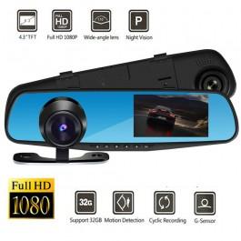 Câmara frente e trás Full HD 1080p DVR para Carro LCD 4.3