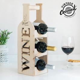 Suporte para garrafas em madeira vintage