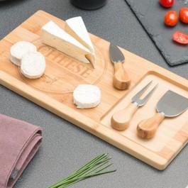 Tábua de bambu com facas para queijos - 4 peças