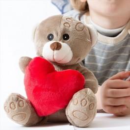 Urso de Peluche com Coração - Bege e Castanho