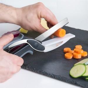 Faca e tábua de corte 2 em 1, Clever Cutter