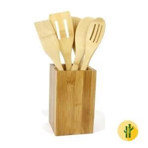 Conjunto de Utensílios para Cozinha de Bambu - 5 Pcs