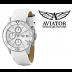 Relógio Senhora AVIATOR SWISS Com Cronógrafo e Bracelete em Pele Branca.